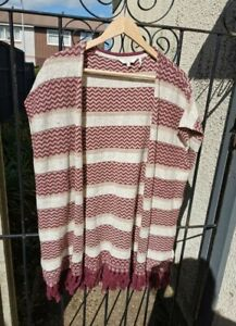 Fat Face Burgundy Zigzag & Stripe Tassel  Sleeveless Open wool blend Cardigan M