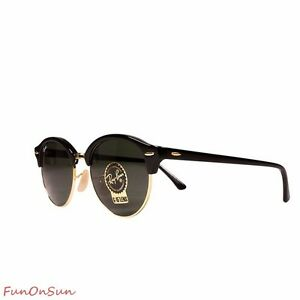 d684878cad2e5 Ray Ban Unisex Sunglasses RB4246 901 Black Gold Green Lens Clubround ...