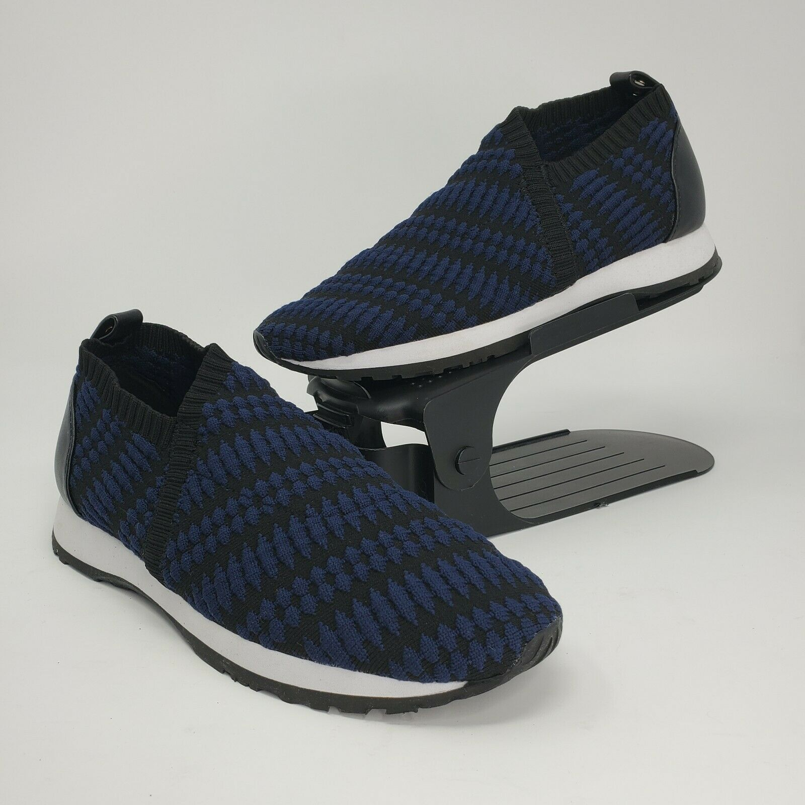 New Taryn Rose Womens Caren Geo-Knit Slip-on Sneakers Blue Black Size 6