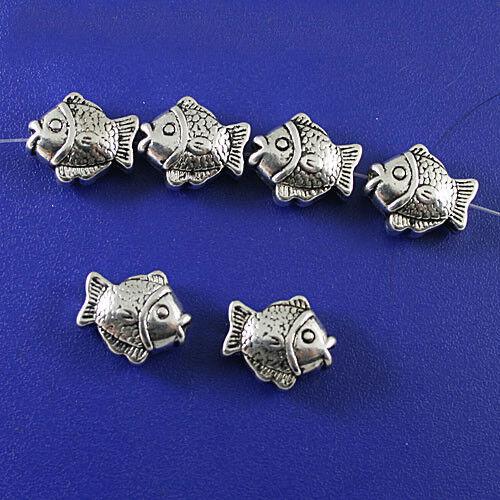 5pcs 15x13x6mm Tibetan Silver Fish Findings beads h0004