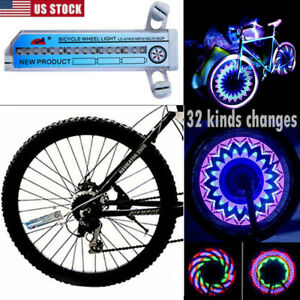 32 LED Patterns Cycling Bikes Bicycles Rainbow Wheel Signal Tire Spoke Light US