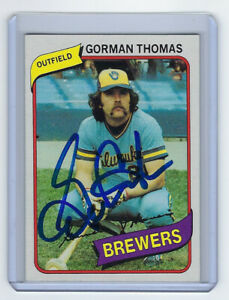 1980 Gorman Thomas signed card Milwaukee Brewers Topps #623 AUTO Autographed