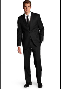 355b71a73e Hugo Boss Mens Reda Super 100 Trim Fit Black Wool Suit Jacket Pants ...