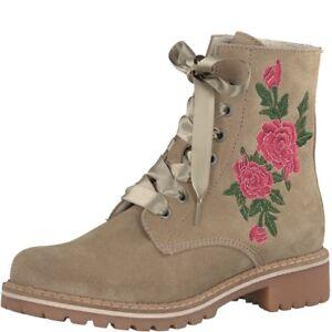 Das Bild wird geladen TAMARIS-Stiefel-Dirndl-Schuhe -Trachtenstiefel-Boots-beige-sand- b15522e6e8