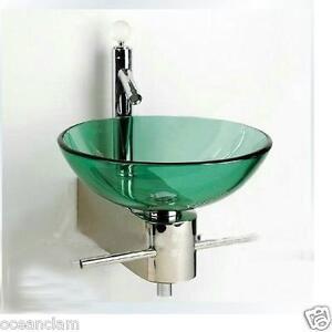 Image Is Loading Bathroom Green Glass Basin Sink Wall Mounted Chrome
