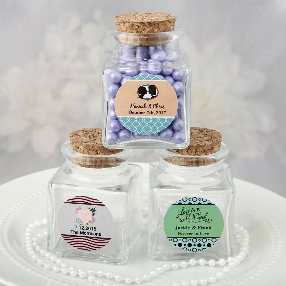 120 Personalized Square Glass Candy Jars Wedding Bridal Shower Party Favors