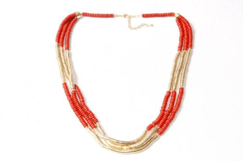 Minimalist Three-Strand Ladies Long Necklace with Dark Red /& Gold Beads S573