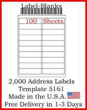 2000 Laser Ink Jet Labels 20 Up Address Compatible With Size 5161 100 Sheets