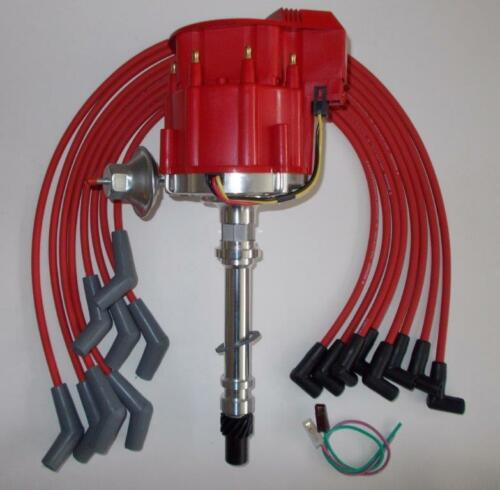 BIG BLOCK CHEVY RED Super Cap HEI Distributor /& SPARK PLUG WIRES 45 DEGREE BOOTS