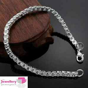Image Is Loading 925 Sterling Silver 4mm Square Box Chain Bracelet