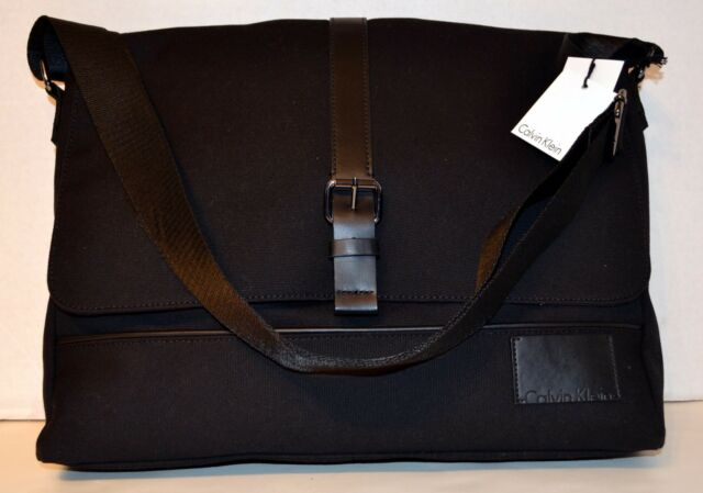 Calvin Klein Canvas Messenger Bag Handbag Tablet Padded Pocket MSRP 188.00 05185636fd
