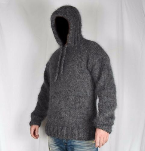Hand Knit WOOL Mohair Pullover Men Sweater HOOD SOFT fuzzy Jumper