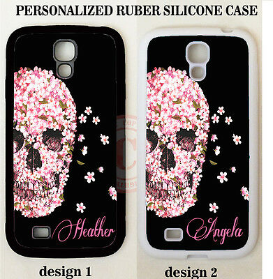 BLACK PINK FLORAL SKULL MONOGRAM PHONE Case For Samsung Galaxy S8 S7 S6 NOTE 8 5
