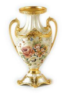 Oggetti Via Veneto.Details About Large Vase Via Veneto Decoration Pearl And Rose Ceramic Gold House Furniture Objects Show Original Title