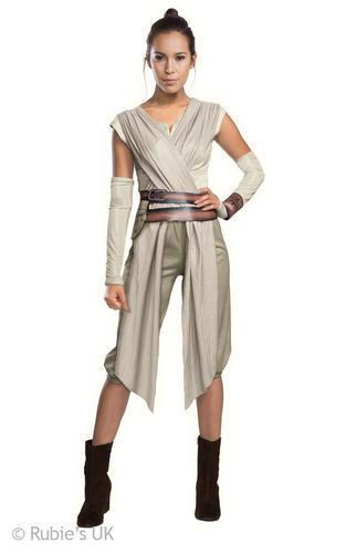 Deluxe Rey Ladies Fancy Dress Star Wars The Force Awakens Womens Adults Costume