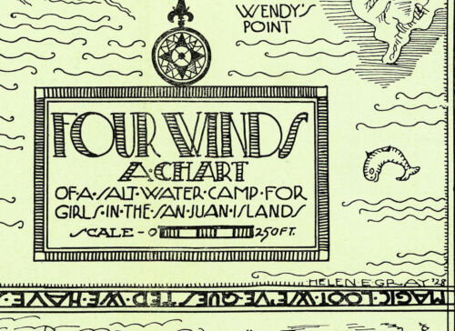 Pictorial Map Four Winds Salt Water Camp for Girls Orcas San Juan Islands Poster