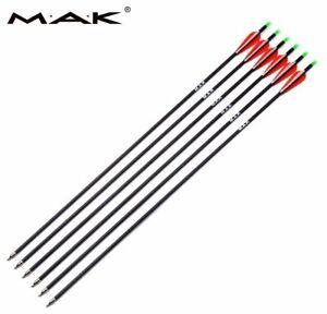 "US 6Pcs 30/"" Carbon Shaft Archery Arrows SP340 Replaceable Tips Target Hunting"