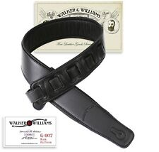 Walker & Williams G 907 Black Leather Guitar Strap With Padded Glove Back