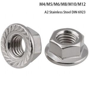 DADI flangiati per adattarsi Metrico Bulloni/Viti A2 Acciaio Inox M4 M5 M6 M8 M10 M12