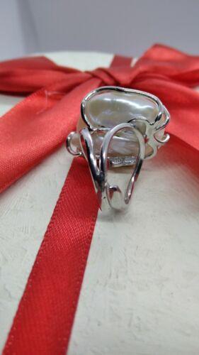 Silberring Frauen Perle Barocca Scaramazze Zuchtperle MM 20x25 Rhodium Dimmbar