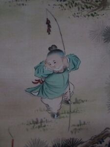 OLD-ANTIQUE-JAPANESE-SILK-PAINTING-ARTIST-SIGNED-STAMPED-CHILDREN-PLAYING