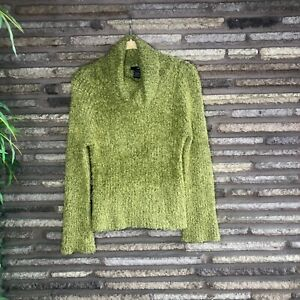 Kensie-Green-Fuzzy-Eyelash-Cowl-Turtleneck-Sweater-XS