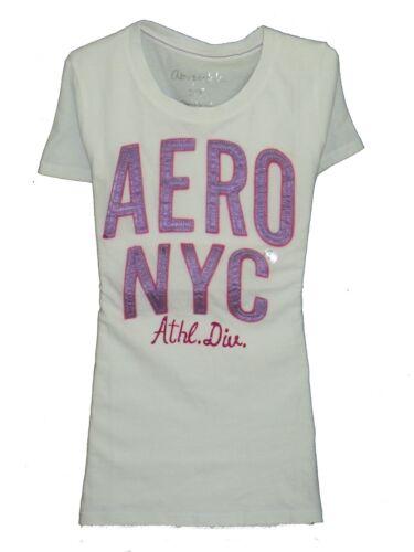100/% Authentic Women/'s AEROPOSTALE T-Shirt White Size S 3886309093  1-1