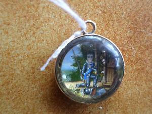 Peinture-Miniature-medaillon-Chevalier-et-l-039-amour-XIXe-Fine-antique-painting
