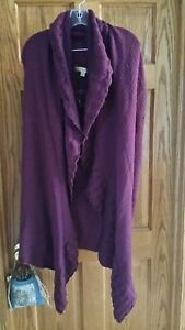 Motto-Textured-Lovely-Open-Front-Long-Vest-Shawl-Collar-Solid-XL-Plum-A218984