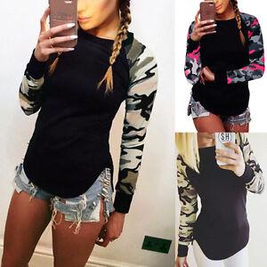 Damen-Bluse-Pullover-Langarm-T-Shirt-Blusen-Top-Shirts-Hemd-Oberteil-Tarnung