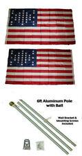 3x5 Fort Sumter SC 33 Star 2ply Flag Aluminum Pole Kit Ball Top 3'x5'