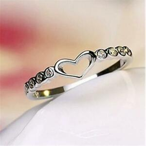 Heart Women 925 Silver Rings White Sapphire Wedding Ring Free Ship Size...