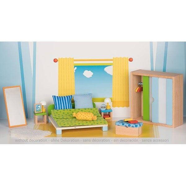 Goki 51538 Puppenmöbel Schlafzimmer Puppenhaus Zubehör Puppenstube