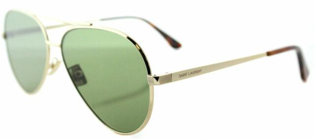 22f53c368 New Saint Laurent Classic 11 Zero 002 Gold Aviator Sunglasses Green Flat  Lens