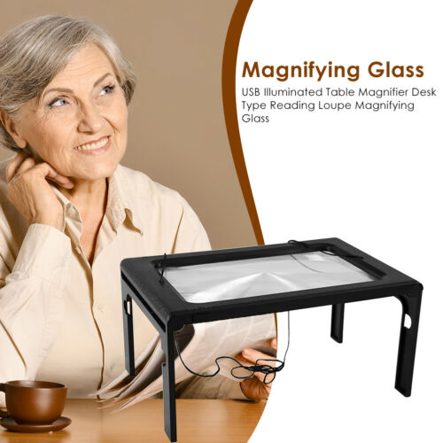 USB Illuminated Table Magnifier Desk Type Reading Loupe Magnifying Glass N#S7