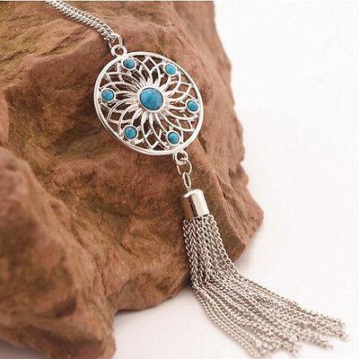 Bohemian Women Flower Tassel Long Chain Sweater Necklace Jewelry