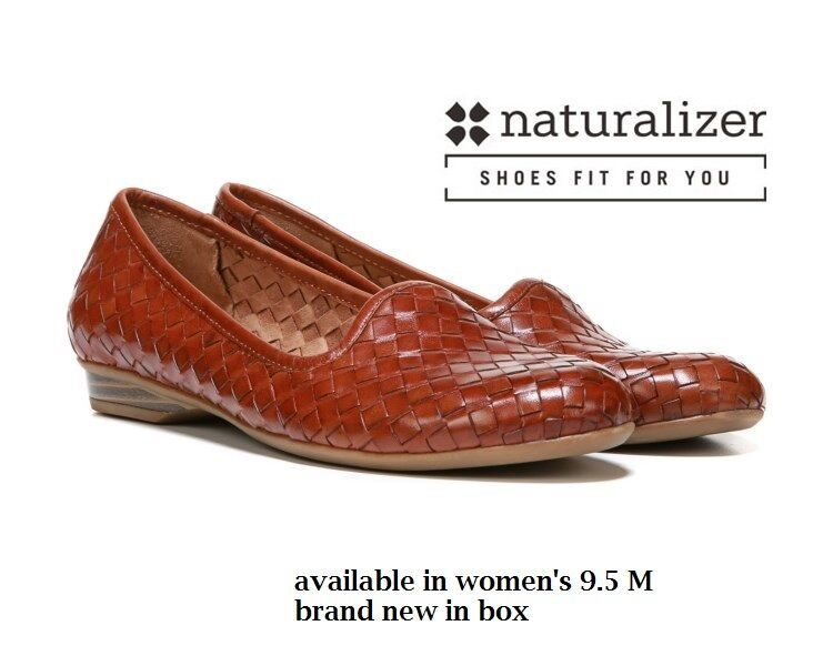 Naturalizer Women's 9.5 Med Sandee Saddle Tan Leather shoe low 3/4