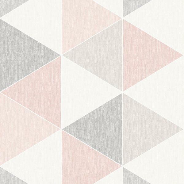 Gris Rose Blush Blanc Moderne Scandi Peint Geometrique Triangle