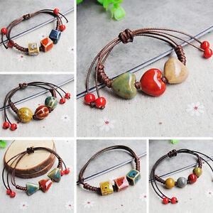 Unisexe-Mode-Elegant-Ethnique-Style-Ceramique-Reglable-Perles-Bracelet-Bijoux