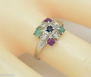 Ring-Diamonds-Sapphire-Ruby-Emerald-925-Sterling-Silver-Rhodium-Plated