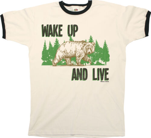 Wake Up And Live Grizzly Bear Mens RINGER T-Shirt Birthday Gift Retro Funny