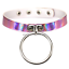 Handmade Punk Rainbow Choker Drop O Ring Holographic Collar Leather Necklace