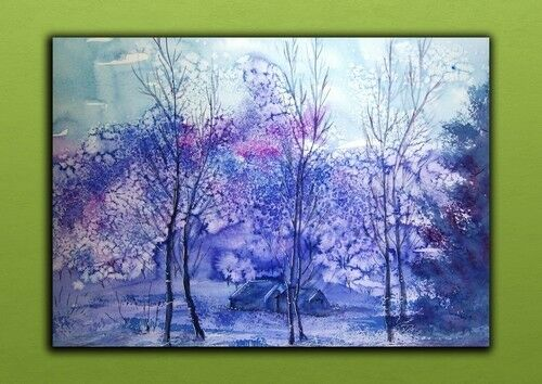 lila trees house art Metal Plate Picture_Metal wall art Poster