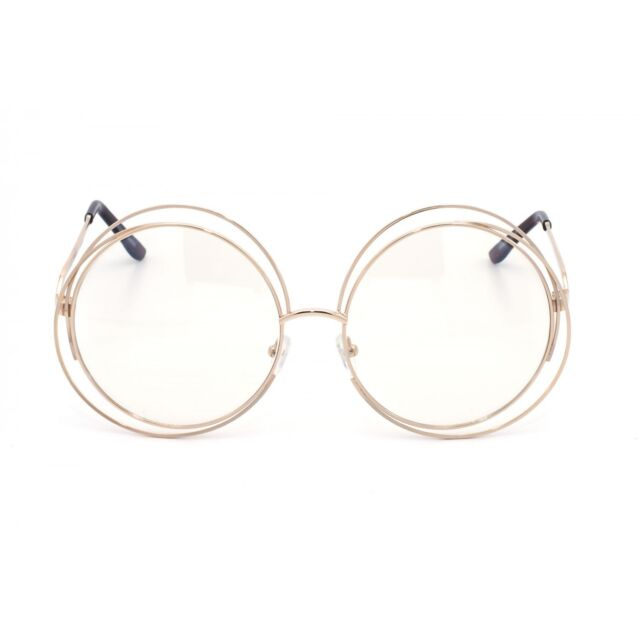 Oversize Vintage Style Clear Lens Eye Glasses Large Round Gold ...