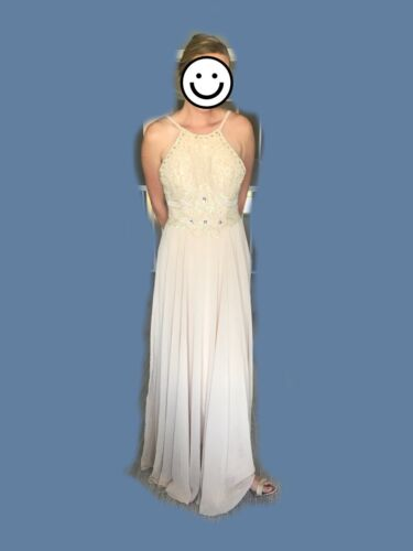 champagne wedding bridesmaid prom formal dress size 10