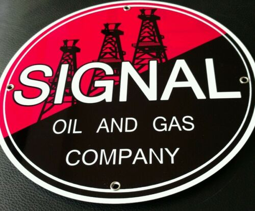"Signal Gasoline gas oil sign ...~12/"" round . FREE shipping on any 8 signs"