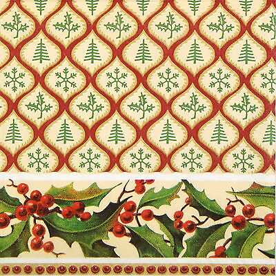 4x Paper Napkins for Decoupage Decopatch Christmas Pattern