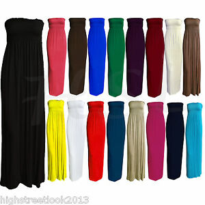Womens-Ladies-Sheering-Gather-Boobtube-Bandeau-Long-Summer-Strapless-Maxi-Dress