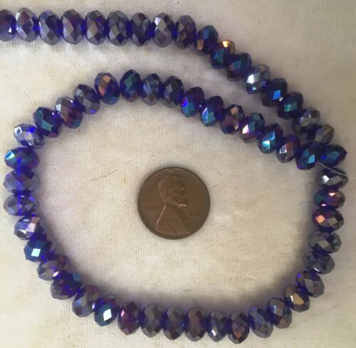 "TWO 16/"" Strands COBALT BLUE IRIS FACETED 5mmx8mm  Machine Cut Crystal Rondelles"