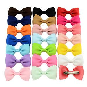 20X-Hair-Bows-Band-Boutique-Alligator-Clip-Grosgrain-Ribbon-For-Girl-Baby-Kid-O1